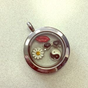 Origami Owl Silver Living Locket w/ 4 charms